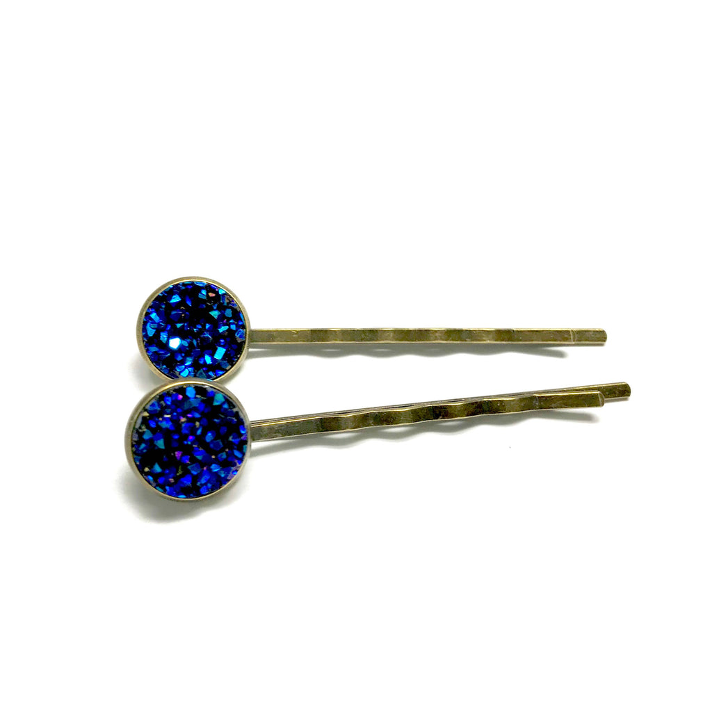 All Up In The Hair - Indigo Druzy Bobby Pins