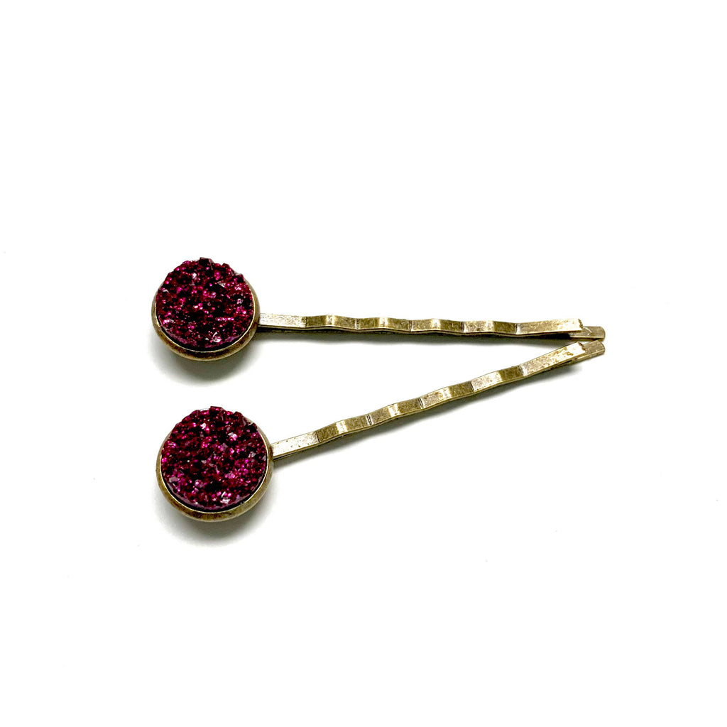 All Up In The Hair - Magenta Druzy Bobby Pins