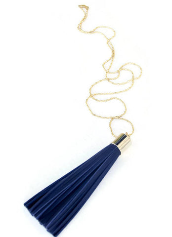 Wild Juniper - Minimalist Navy Tassel Necklace