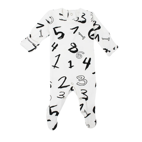 L'ovedbaby Footed Numbers Onesie