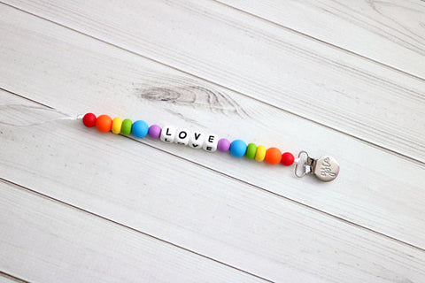 Love is Love | Rainbow Silicone Pacifier Clip