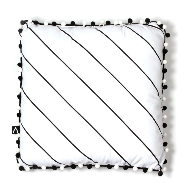 Black White Pompom Pillow