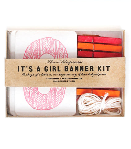 IT'S A GIRL Letterpress DIY Banner Kit