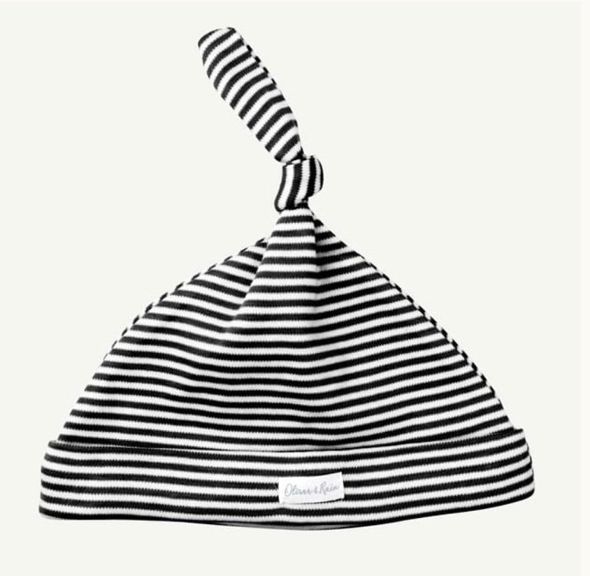 Oliver & Rain Black & White Mini Stripe Cap