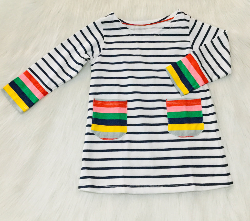 Navy and white striped rainbow dress