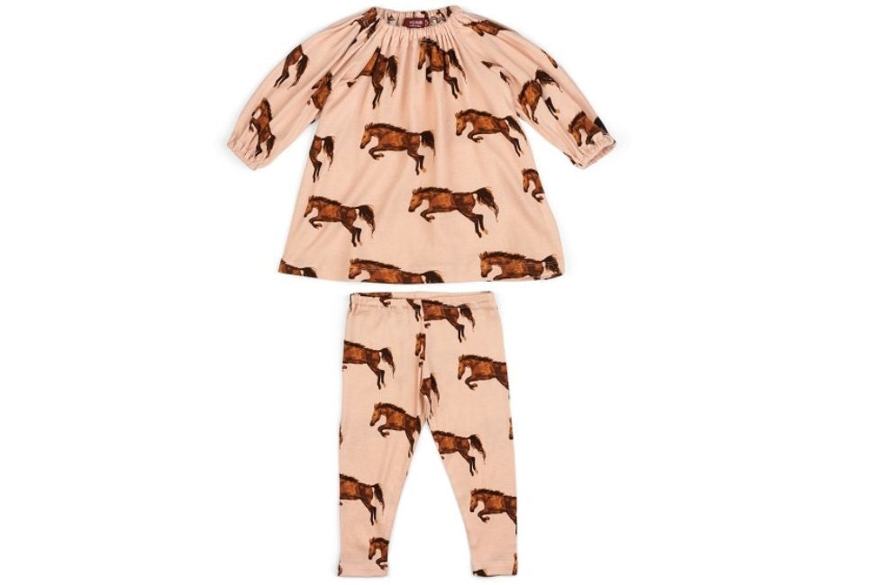 Milkbarn ORGANIC LONG SLEEVE DRESS AND LEGGING SET HORSE