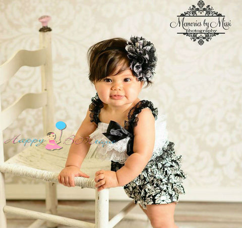 Damask Petti lace Romper - Happy BOWtique - children's clothing, Baby Girl clothing