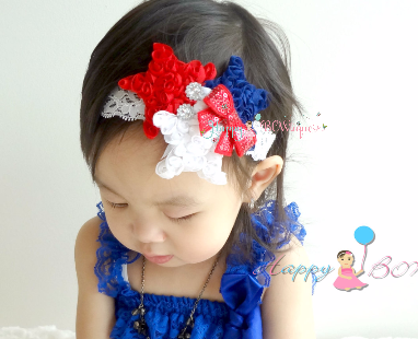 4th of July Stars Shabby Lace Headband / Independence Day Headband