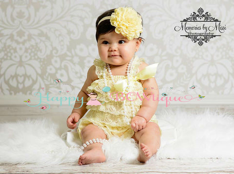 Baby Girl Yellow Lace Petti Romper / Girl Yellow romper - Happy BOWtique - children's clothing, Baby Girl clothing