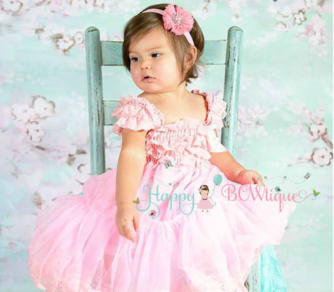 Girl Babydoll Pink Chiffon Lace Dress ~ Girl Light Pink Flowy Dress