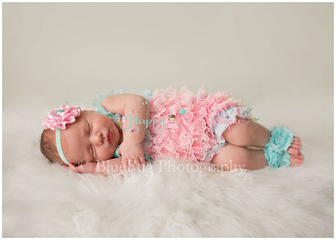 3pcs Aqua Pink Lace Petti Romper Set with Headband and Baby Barefoot Flower Sandals