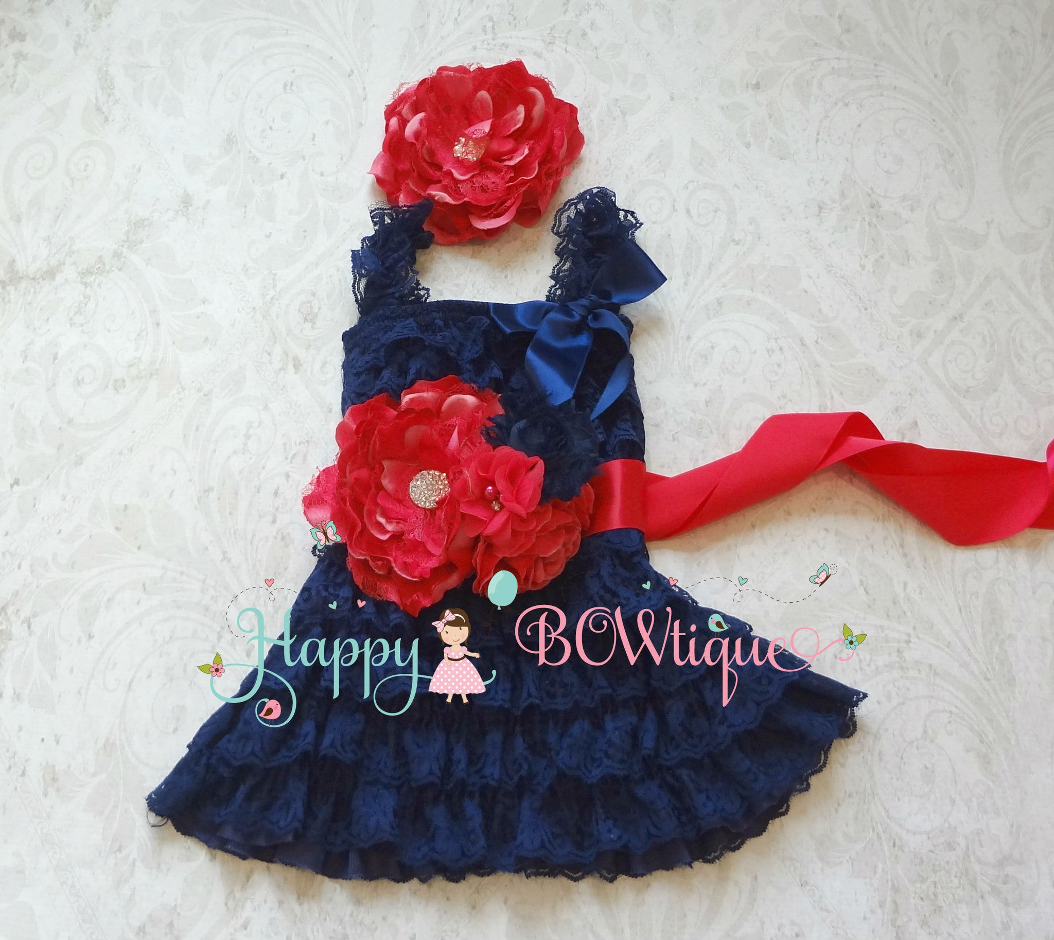 Wedding Bridal Flower Sash/ Navy Fuschia Pink Flower Sash - Happy BOWtique - children's clothing, Baby Girl clothing