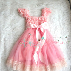 Bubblegum Pink Bow Babydoll Chiffon Lace Dress - Happy BOWtique - children's clothing, Baby Girl clothing
