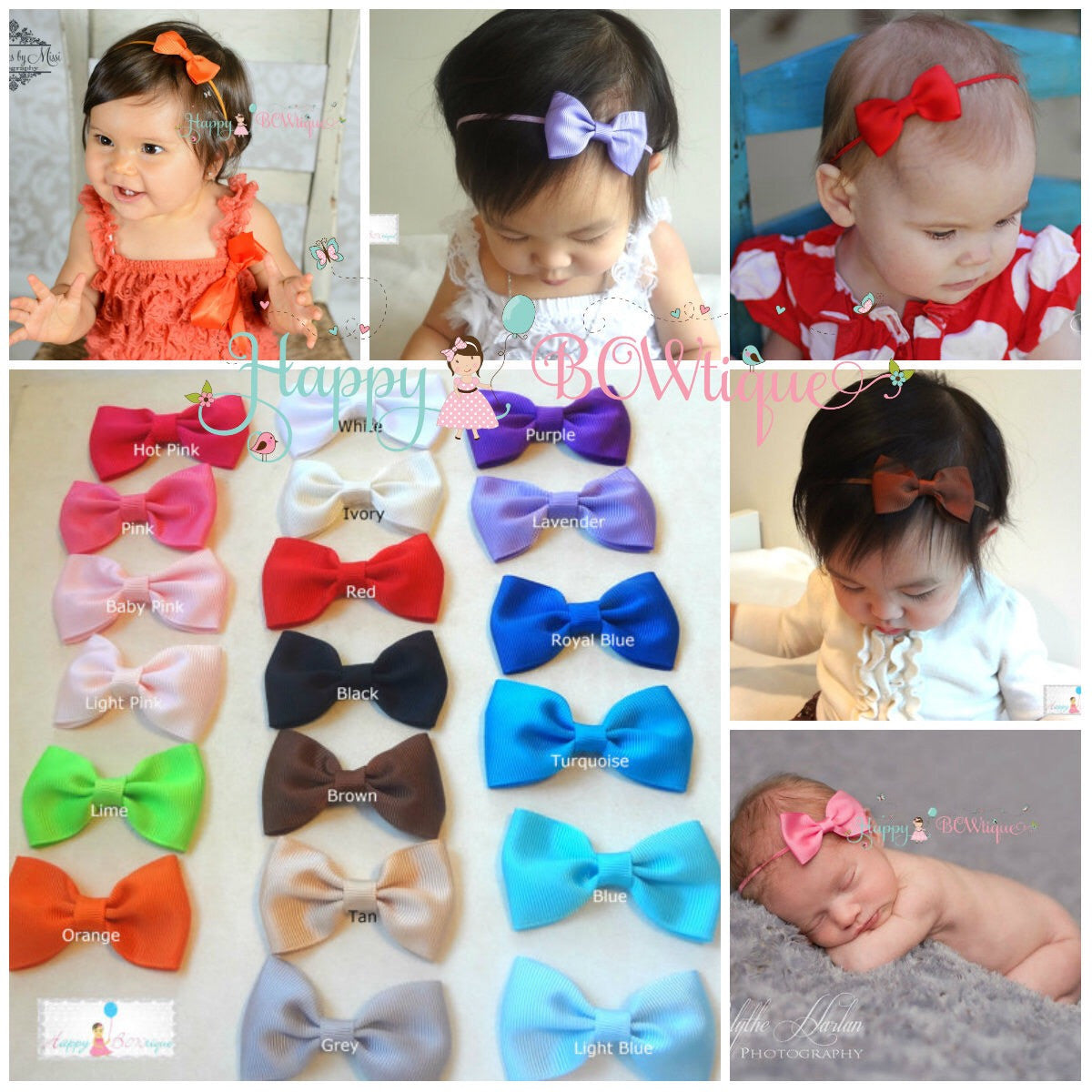 baby girls headband, Baby bow headband - Happy BOWtique - children's clothing, Baby Girl clothing