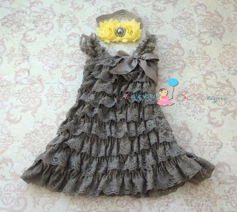 Girl's Yellow and Grey Lace Dress set / Baby Girl Grey Lace dress - Happy Bowtique