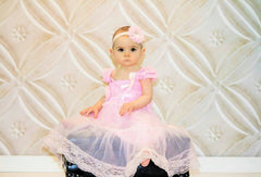 Girl Pink Babydoll dress/ Baby Pink Chiffon Lace Dress set - Happy BOWtique - children's clothing, Baby Girl clothing