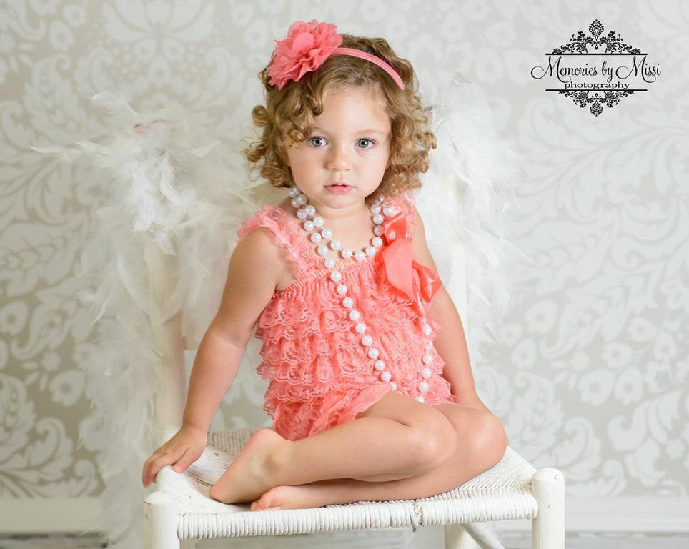 Coral Lace Romper set - Happy BOWtique - children's clothing, Baby Girl clothing