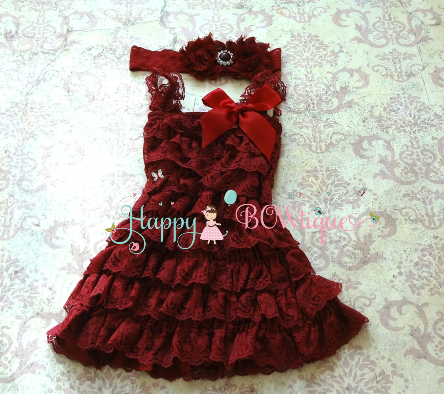 Baby Girl's Dress/ Girl's Lace Burgundy Dress set - Happy BOWtique - children's clothing, Baby Girl clothing