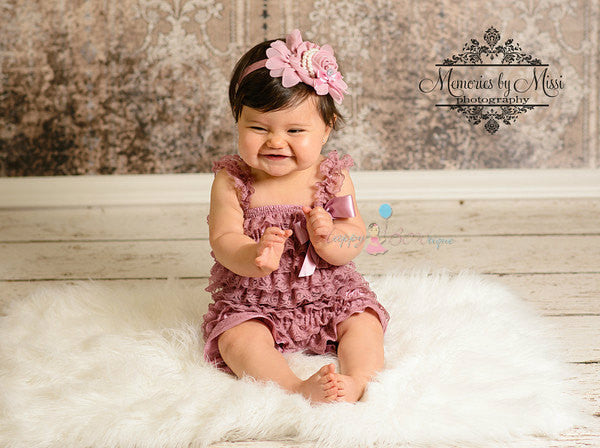 Dusty Rose Lace Romper - Happy BOWtique - children's clothing, Baby Girl clothing