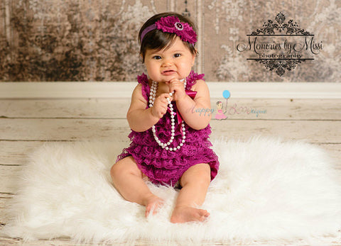 Raspberry Plum Lace Romper - Happy BOWtique - children's clothing, Baby Girl clothing