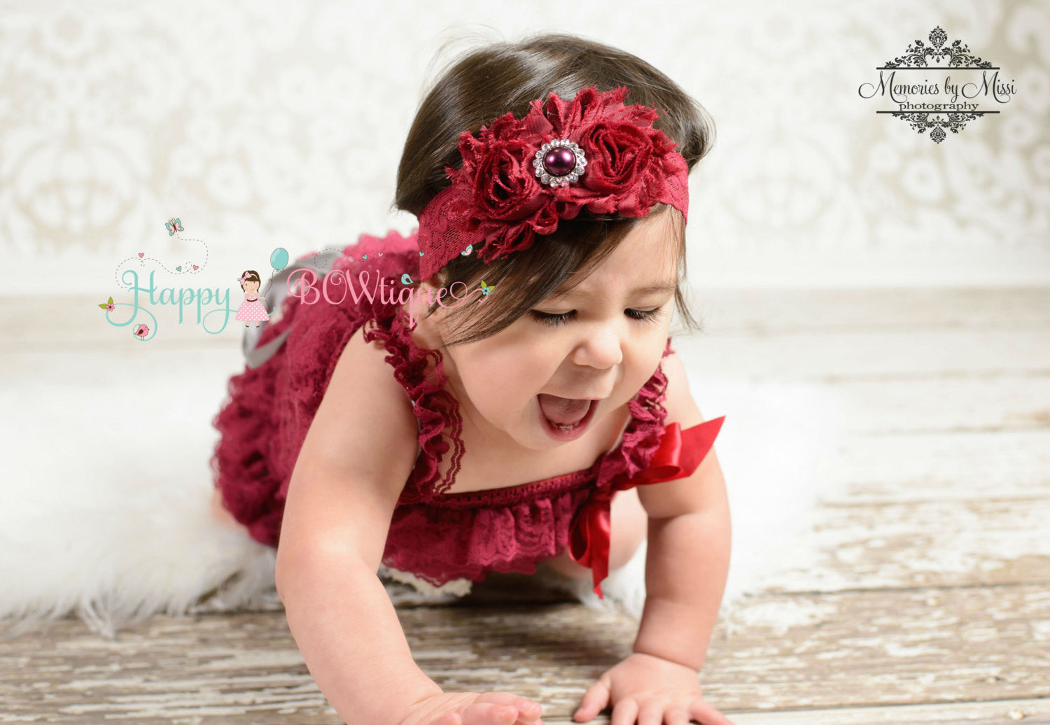 Baby Girl burgundy Lace headband - Happy BOWtique - Baby Girl Headband