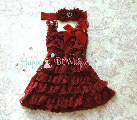 Dark Burgundy Wine Lace Petti Romper