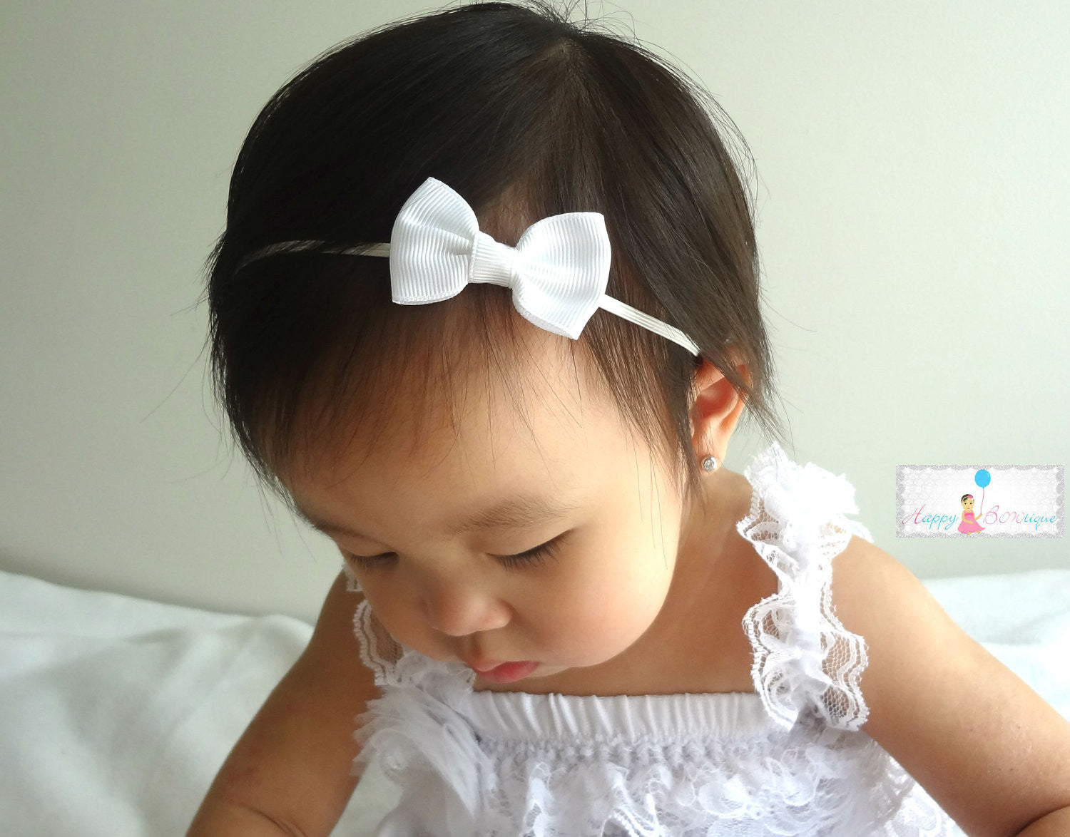Petite White Bow Headband - Happy BOWtique - children's clothing, Baby Girl clothing