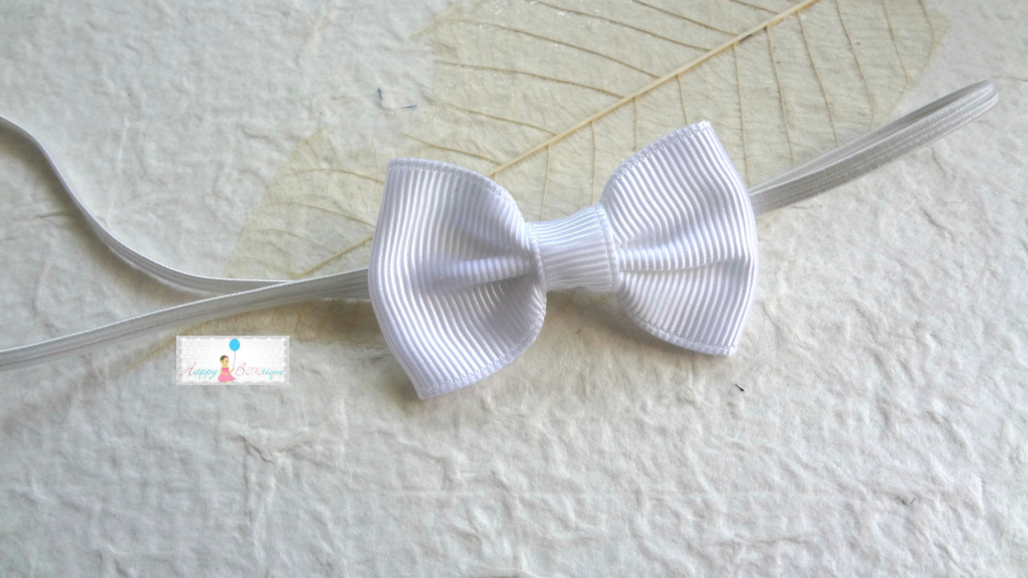 Petite White Bow Baby Girls Headband - Happy BOWtique - children's clothing, Baby Girl clothing