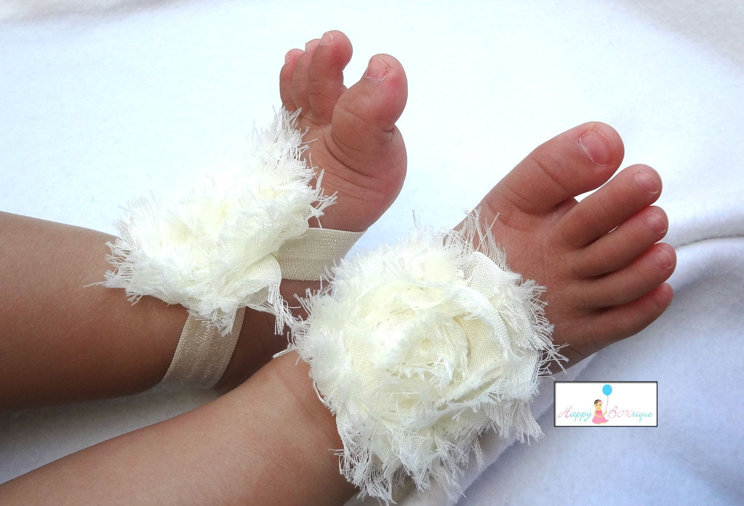 Baby Barefoot Sandals.. newborns barefoot sandals..  Baby Barefoot Sandals in Ivory.. Infant  barefoot sandals.. - Happy BOWtique, - children's clothing, Baby clothing, baby rompers, Dresses, Flowergirl dresses