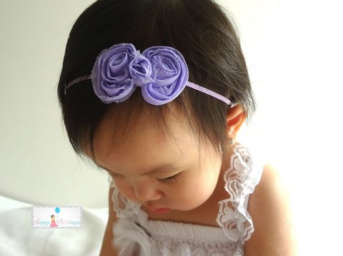 Lavender Petite Shabby Bow Baby Girls Headband - Happy BOWtique - children's clothing, Baby Girl clothing