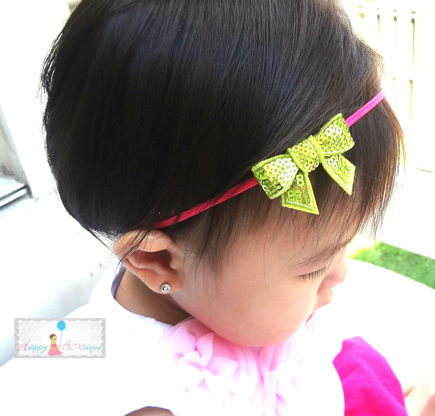 Petite Lime Sequin Bow Headband - Happy BOWtique - children's clothing, Baby Girl clothing
