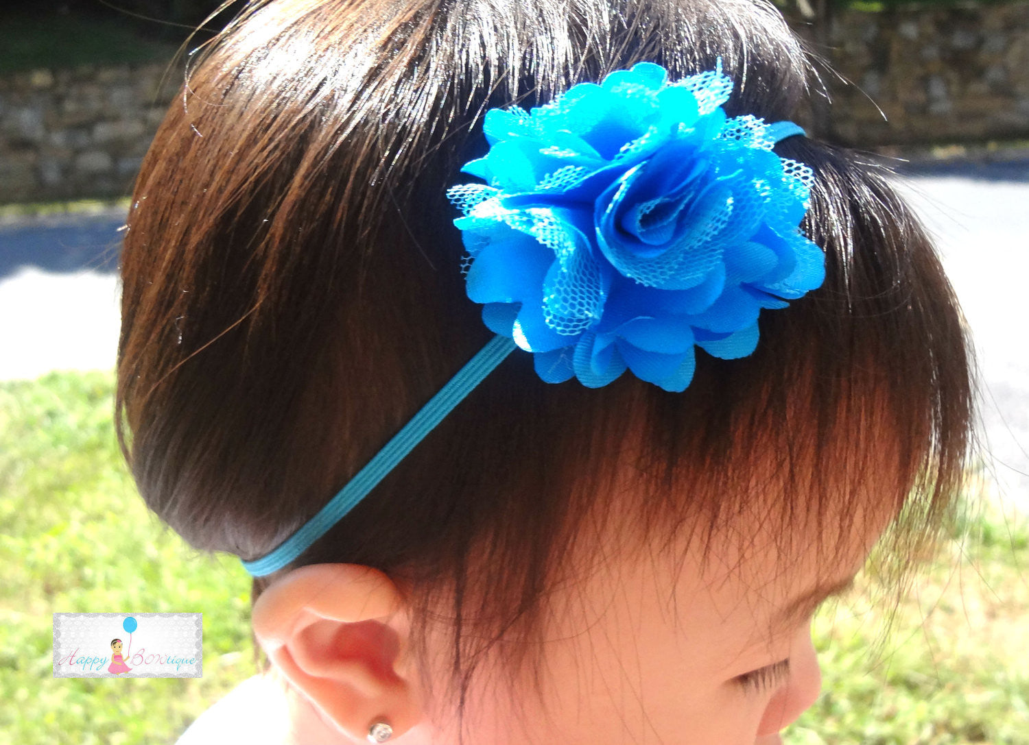 Petite Turquoise Chiffon Mesh Puff Baby Girls Headband - Happy BOWtique - children's clothing, Baby Girl clothing
