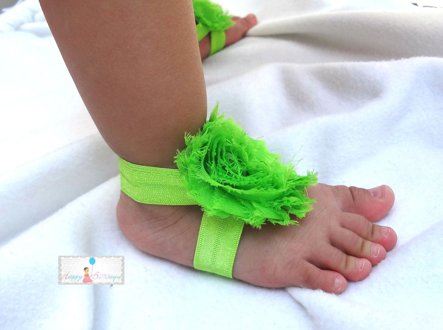 Lime Shabby Baby Barefoot Sandals - Happy BOWtique - children's clothing, Baby Girl clothing