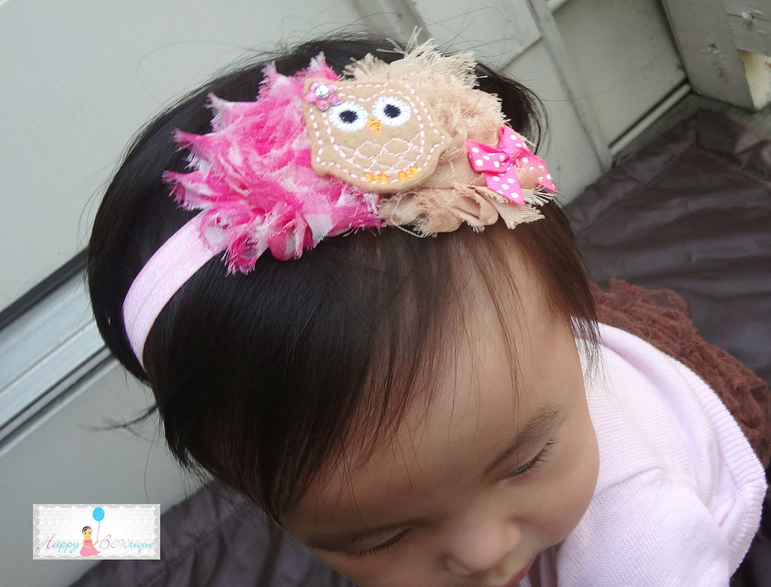 Pink Owl Girls Headband - Happy BOWtique - children's clothing, Baby Girl clothing