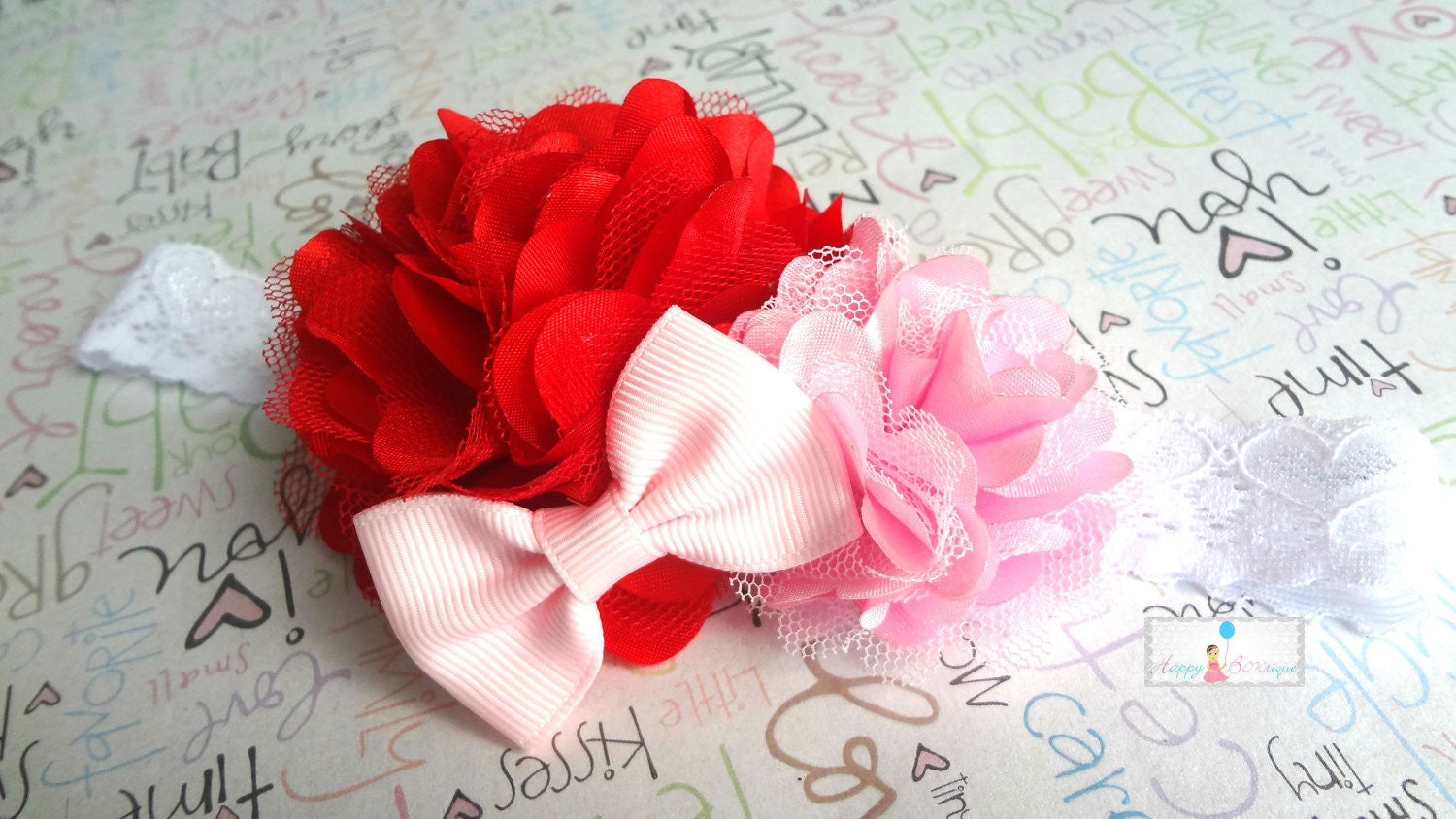 Valentine Headband, Red and Pink Satin Puff headband - Happy BOWtique - children's clothing, Baby Girl clothing