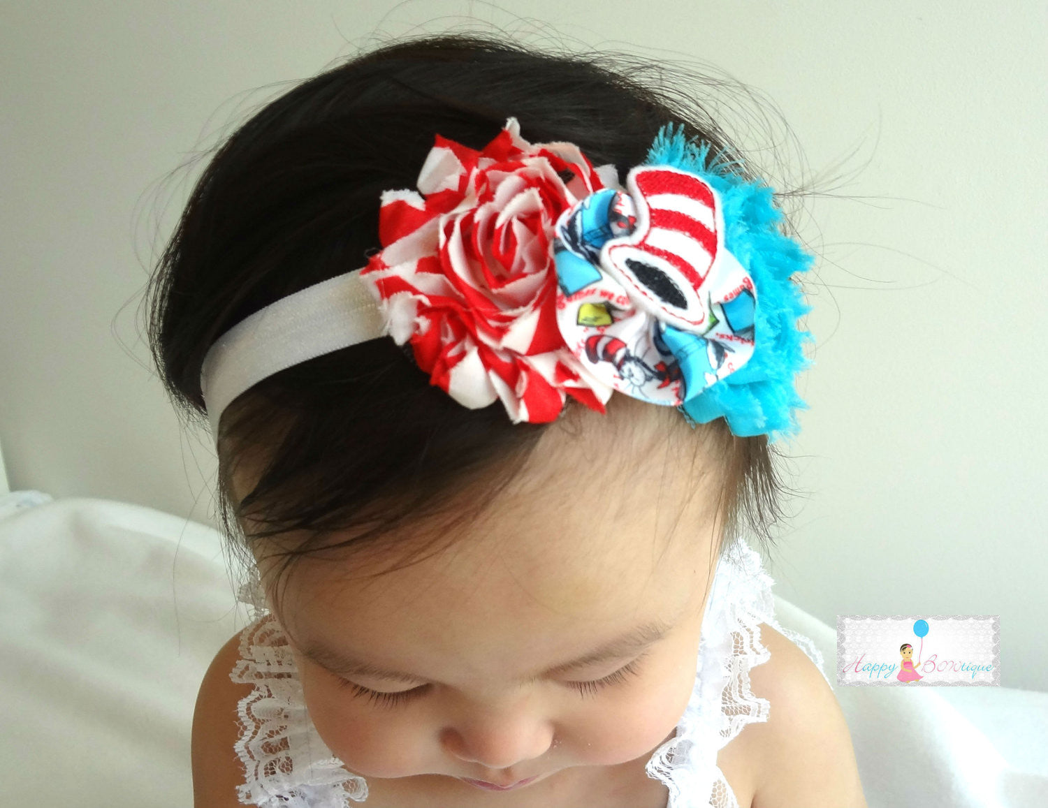 The Cat in the Hat bow Baby Girls Headband / Theme Dr. Seuss inspired the Cat in the Hat Girls Headband / Infant headband - Happy BOWtique - children's clothing, Baby Girl clothing