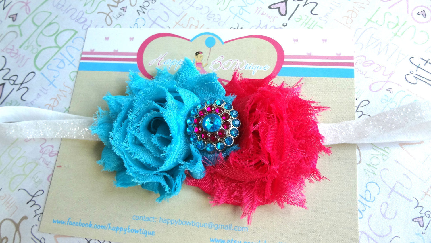 Hot Pink Turquoise Shabby Girls Headband - Happy BOWtique - children's clothing, Baby Girl clothing