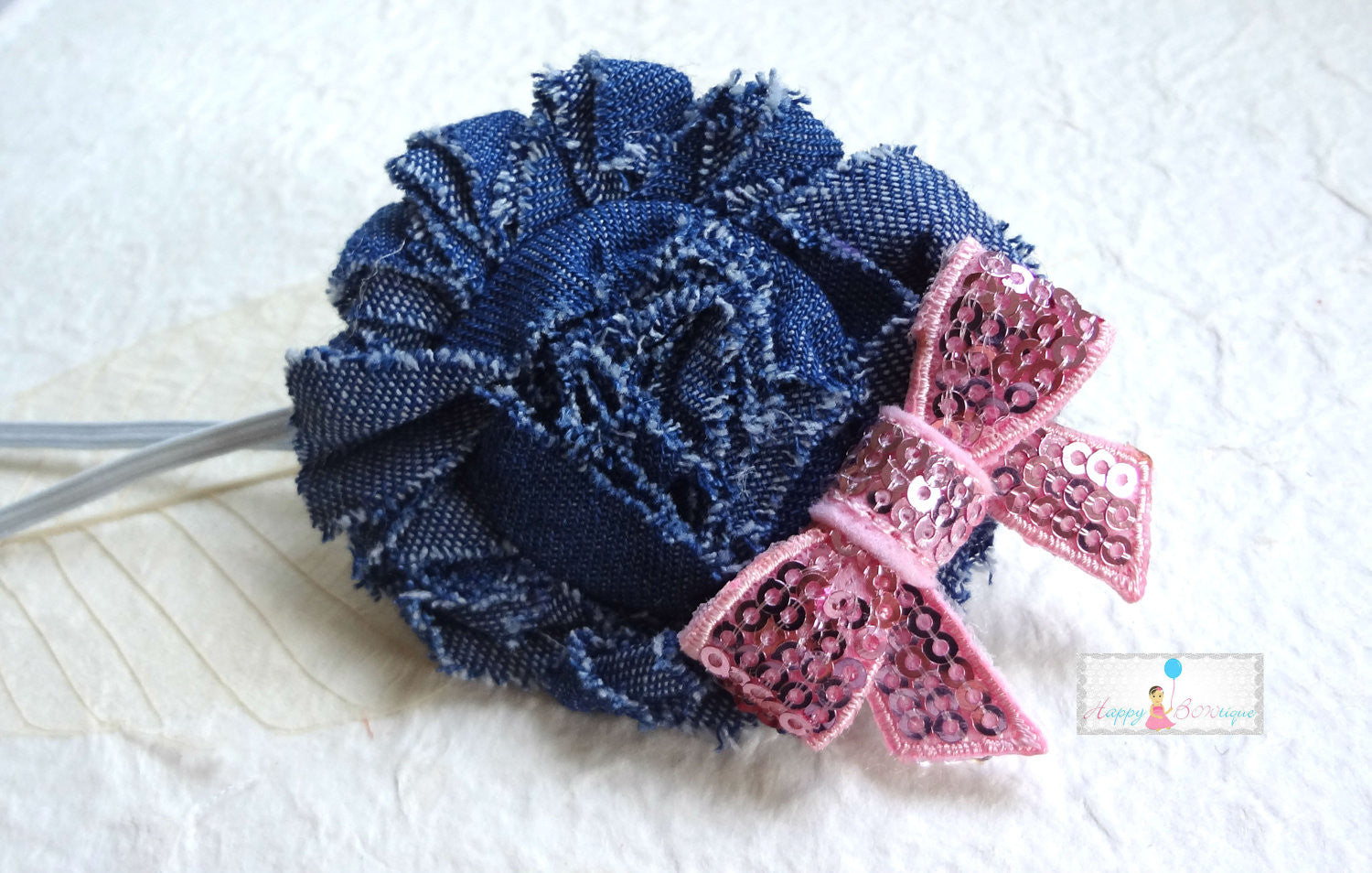 Shabby Denim Pink Bow Headband - Happy BOWtique - children's clothing, Baby Girl clothing