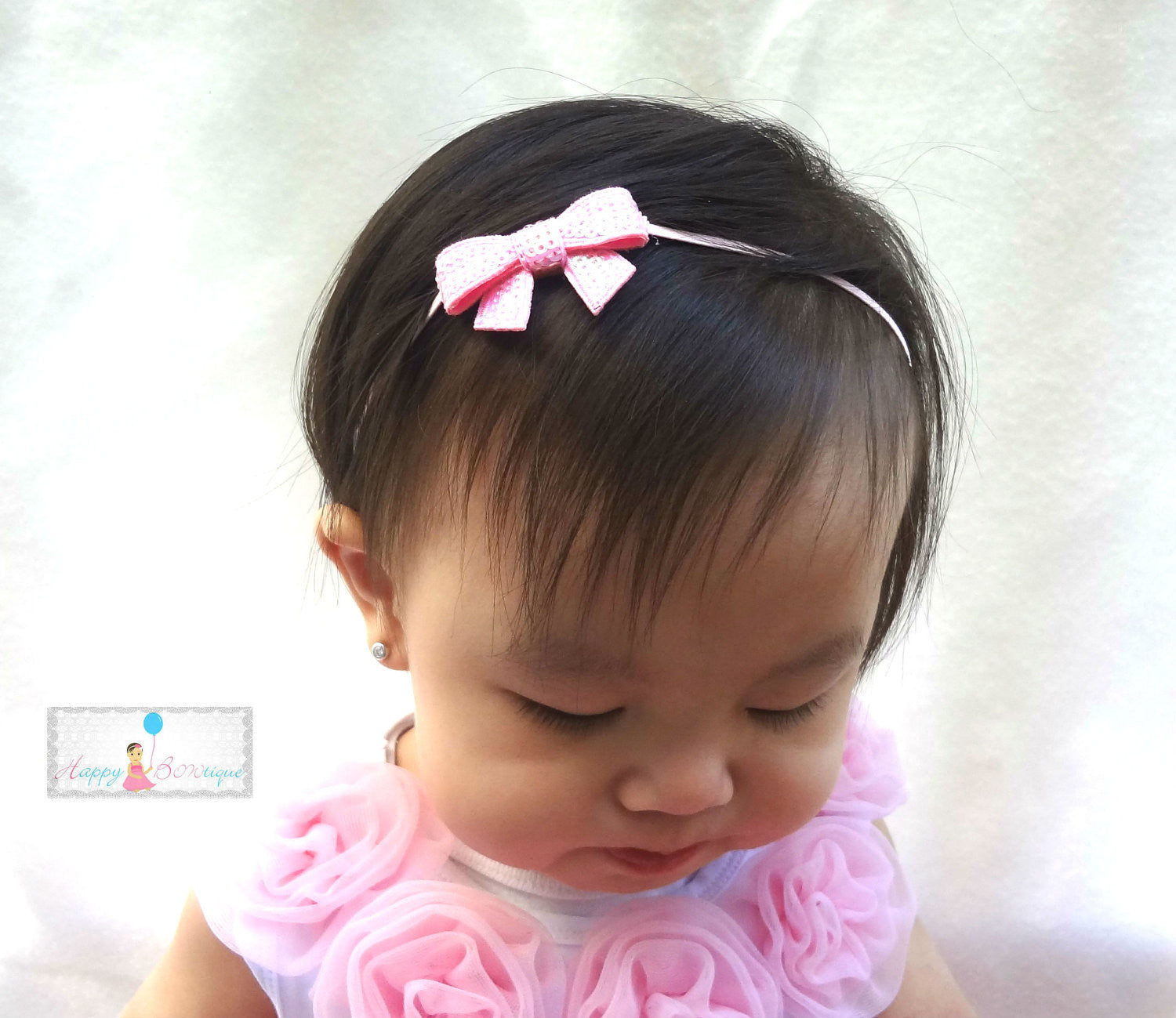 Petite Sequin Bow U-Pick Color, Baby Sequin Bow Headbands - Happy BOWtique - children's clothing, Baby Girl clothing