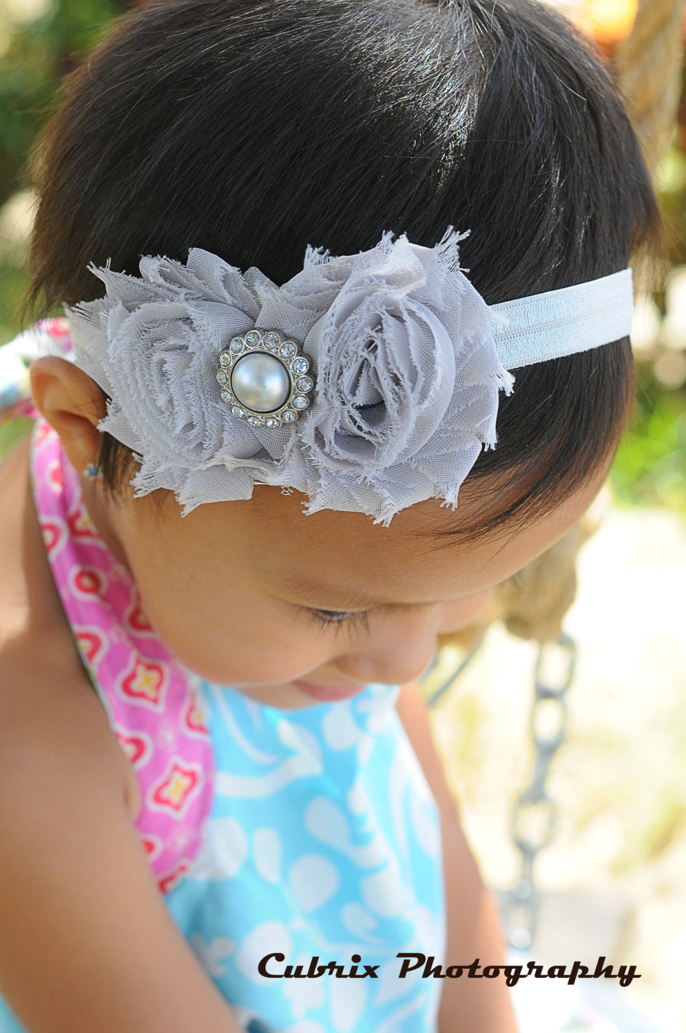 Duo Shabby Silver Grey headband - Happy BOWtique - children's clothing, Baby Girl clothing