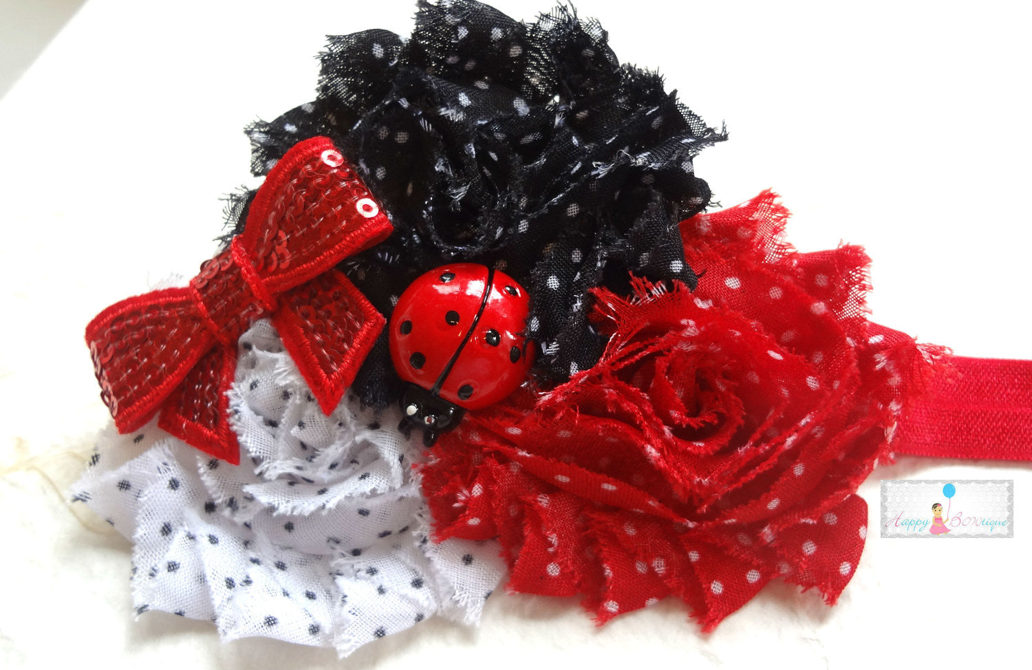 Baby Girls Trio Shabby Ladybug Headband - Happy BOWtique - children's clothing, Baby Girl clothing
