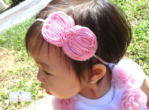 Light Pink Shabby Bow Baby Girls Headband - Happy BOWtique - children's clothing, Baby Girl clothing
