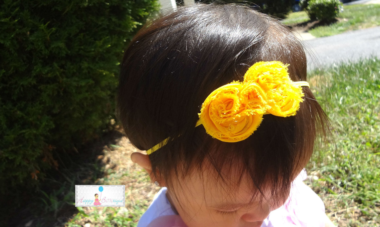 Petite Yellow Shabby Bow Baby Girls Headband - Happy BOWtique - children's clothing, Baby Girl clothing