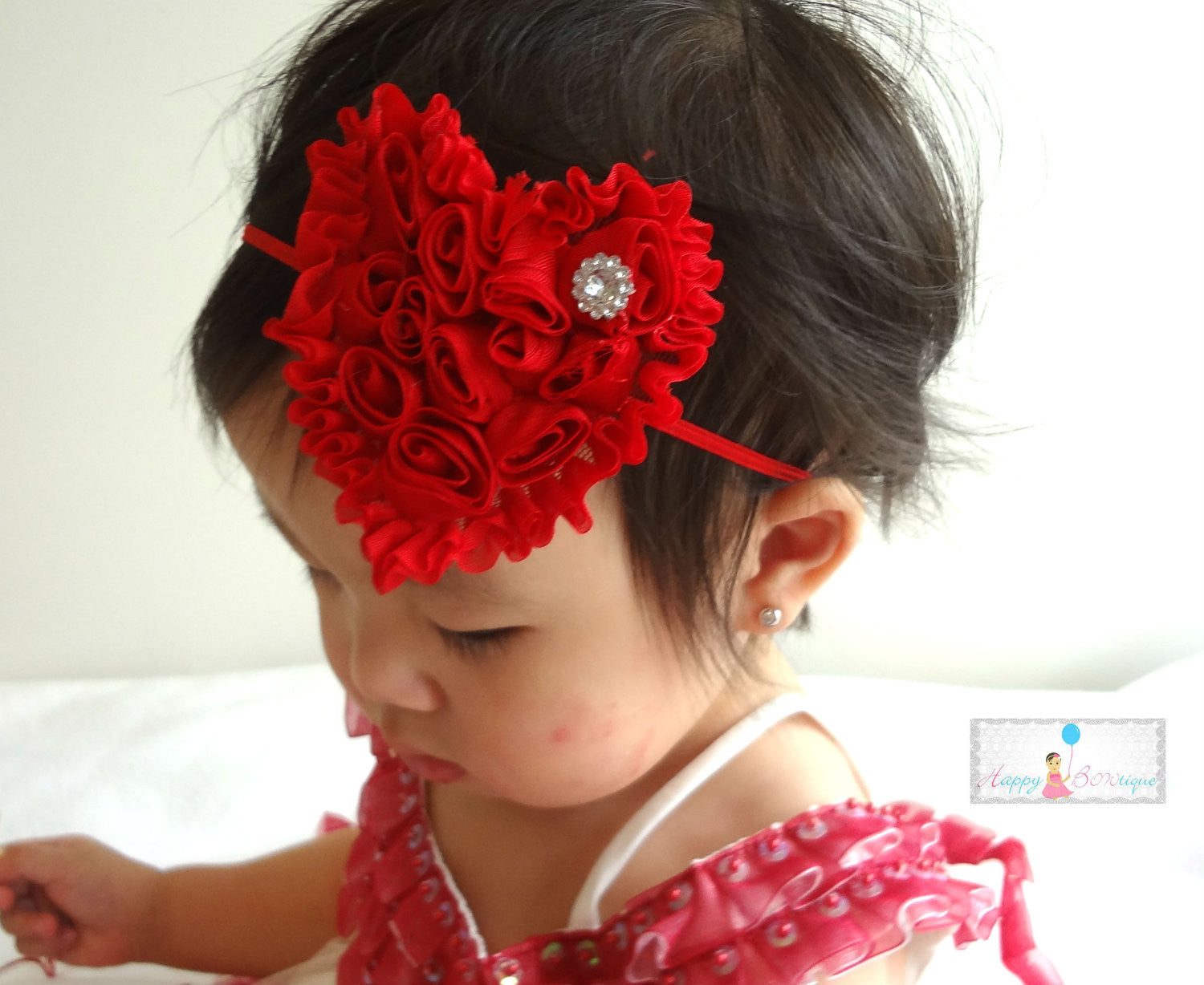 Valentine Headband, Red Shabby heart headband - Happy BOWtique - children's clothing, Baby Girl clothing