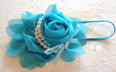 Beautiful Turquoise Blue Chiffon Rosette Pearls headband - Happy BOWtique - children's clothing, Baby Girl clothing