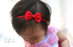 Christmas Bow headband, Petite Red Bow Headband - Happy BOWtique - children's clothing, Baby Girl clothing