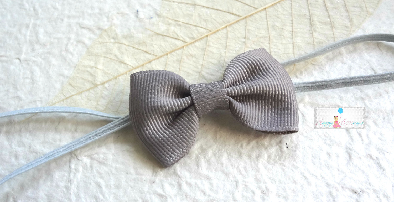 Petite Grey Bow Headband - Happy BOWtique - children's clothing, Baby Girl clothing