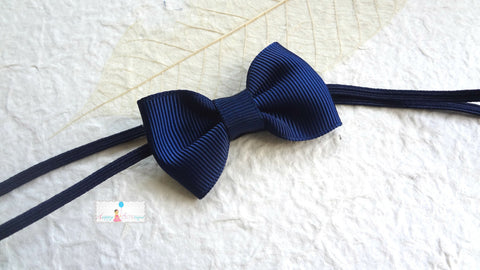 Petite Navy Blue Bow Baby Girls Headband - Happy BOWtique - children's clothing, Baby Girl clothing