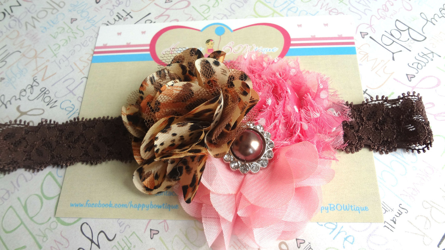 Trio Pink and Leopard headband - Happy BOWtique - children's clothing, Baby Girl clothing