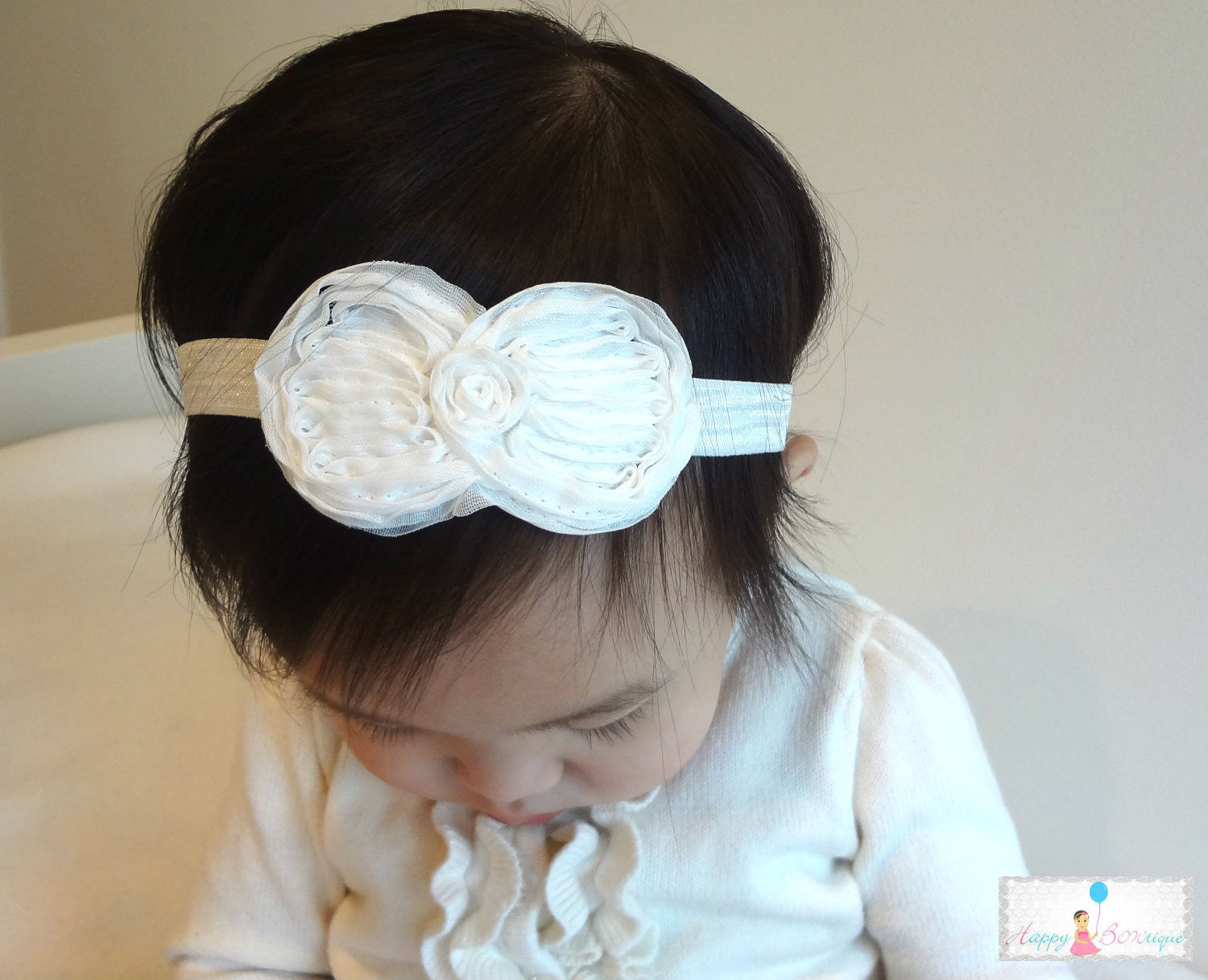 White Chiffon Bow Baby Girls Headband - Happy BOWtique - children's clothing, Baby Girl clothing
